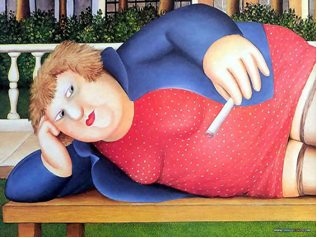 Beryl Cook - Amusing Plump Lady Wallpaper