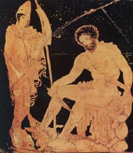 Ο Οδυσσέας καθισμένος ακούει προσεκτικά τις συμβουλές και τους χρησμούς του τυφλού Μάντη Τειρεσία (Από αρχαίο ελληνικό αγγείο).