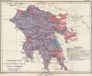 Παλιός Εθνικός Χάρτης της Πελοποννήσου Alfred Philippson (1890)